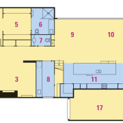 Plan - level one of modern addition to area, design, floor plan, line, plan, product design, white, yellow