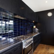 Hand-glazed tiles in varying shades of inky blue architecture, countertop, interior design, kitchen, room, black
