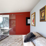 In this master suite, a dramatic accent wall bedroom, ceiling, home, house, interior design, real estate, room, white
