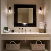 The work undertaken by WaterFX  for this bathroom, bathroom accessory, bathroom cabinet, floor, flooring, interior design, plumbing fixture, room, sink, brown
