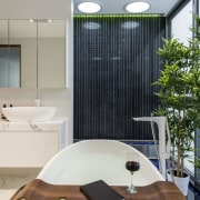 Soothing effect – thin chords with water droplets architecture, bathroom, ceiling, home, house, interior design, product design, room, gray