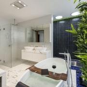 For this bathroom, by designer Kim Duffin, blue bathroom, home, interior design, real estate, room, gray