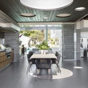 This outdoor kitchen's distinctive skylights create attractive circles ceiling, interior design, kitchen, gray