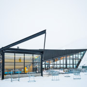 The new Remarkables Base Building optimises views from architecture, building, house, sky, snow, structure, winter, white
