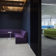 A reception waiting area in the new F&P architecture, ceiling, daylighting, floor, flooring, furniture, house, interior design, lobby, wall, gray, black