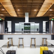 Fisher & Paykel's Social Kitchen is at the interior design, office, product design, white, brown