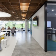 While half of the meeting room pods in institution, interior design, office, gray
