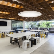 Large tables and casual seating for informal meetings architecture, interior design, real estate, table, gray, brown