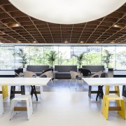 The central zone of the F&P Sydney offices architecture, furniture, interior design, real estate, table, white