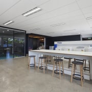 One of two showrooms in the modern fit-out interior design, real estate, gray