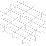 Interlocking plywood elements create an inexpensive yet dramatic, angle, area, black and white, drawing, line, line art, point, product design, structure, symmetry, white