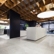 A 3D plywood ceiling, curving in two directions, architecture, ceiling, daylighting, interior design, lobby, gray, brown