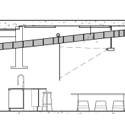 Elevation showing the curved plywood ceiling extending through angle, architecture, area, artwork, black and white, design, diagram, drawing, elevation, floor plan, home, line, line art, plan, product design, structure, technical drawing, white