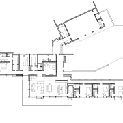 Living, dining and kitchen areas occupy the centre angle, architecture, area, black and white, design, diagram, drawing, elevation, floor plan, font, line, plan, product, product design, structure, technical drawing, white