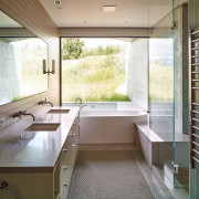 This master bath features the same materials used architecture, bathroom, home, house, interior design, real estate, room, window, white