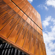 The South Australia Drill Core Library's cantilevered roof architecture, building, daylighting, facade, landmark, line, reflection, sky, sunlight, wood, brown