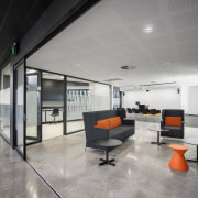 A breakout area in the South Australia Drill architecture, ceiling, floor, house, interior design, lobby, office, real estate, gray