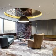 Seated in the VMS headquarters VIP room, guests ceiling, interior design, living room, lobby, real estate, room, gray