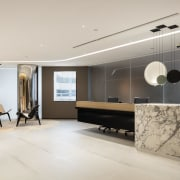 The cantilevered reception desk in this upmarket office ceiling, floor, flooring, interior design, living room, lobby, product design, gray