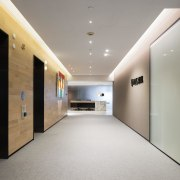 Spanish sandstone floors and a timber clad wall ceiling, daylighting, interior design, lobby, real estate, gray
