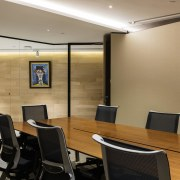 The board room looks out to the lift ceiling, conference hall, interior design, office, real estate, wall, brown, orange