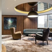 Artworks, custom carpet and a feature mirror ceiling ceiling, furniture, interior design, living room, lobby, real estate, gray