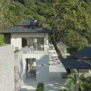 The architecture of this expansive holiday villa in architecture, cottage, home, house, property, real estate, villa, gray