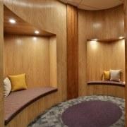 Panelling for the quiet room was just one ceiling, floor, flooring, interior design, lobby, room, suite, wall, wood, wood flooring, brown, orange