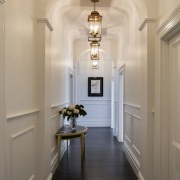 Grand approach – restored and newly panelled walls, ceiling, floor, flooring, hall, home, interior design, light fixture, lighting, molding, orange