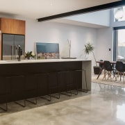 Light and dark wood, and white cabinets and furniture, interior design, kitchen, gray