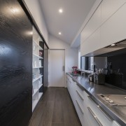 As part of this kitchen design by Davinia architecture, house, interior design, gray, black
