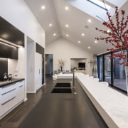 This thick white benchtop is for breakfasting or ceiling, interior design, gray