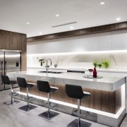 In this new home by Urbane Projects the countertop, interior design, interior designer, kitchen, product design, gray