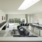 Light from the side, light from above, and architecture, house, interior design, living room, property, real estate, gray