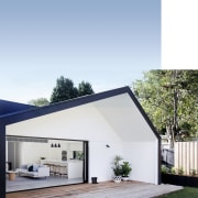 With only a modest budget available for this architecture, daylighting, facade, home, house, property, real estate, roof, white