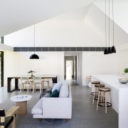 Two oversized dormers in the roofline flood light architecture, ceiling, house, interior design, table, white