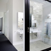 The link between the existing home and its architecture, door, floor, glass, house, interior design, white, gray