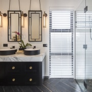 This his-and-hers ensuite vanity was custom designed by bathroom, floor, flooring, interior design, room, gray