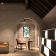 Exposed brick was retained and painted light grey architecture, ceiling, daylighting, floor, home, interior design, wood, black, brown