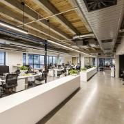 Low storage delineates the finance and HR work interior design, gray, brown