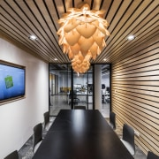 While the open workspaces encourage collaboration across the ceiling, interior design, lobby, real estate, gray