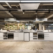 All the uninspirational and dated existing fit out countertop, interior design, kitchen, gray, black