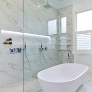 A floor-to-ceiling glass shower screen adds to the bathroom, bathroom sink, ceramic, floor, interior design, plumbing fixture, product design, tap, tile, gray