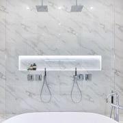 Minimalist chrome tapware was selected by developer Andy bathroom, floor, interior design, plumbing fixture, product design, tap, tile, wall, white