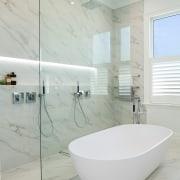 A strip floor drain contributes to the luxurious bathroom, bathroom sink, ceramic, floor, interior design, plumbing fixture, product design, tap, tile, gray