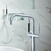 Minimalist chrome tapware provides a modern accent in plumbing fixture, product design, tap, gray, white