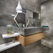 On this project, the bathroom's concrete tile's enveloping architecture, bathroom, countertop, floor, flooring, interior design, product design, sink, tile, gray
