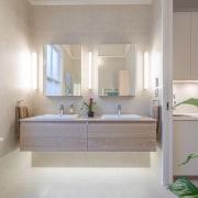 As part of a wider remodel by architect bathroom, bathroom accessory, bathroom cabinet, floor, home, interior design, room, gray