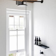 A space-hogging tub was removed in this studio ceiling, daylighting, floor, interior design, light fixture, lighting, product design, tap, window, white