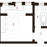 Architect Prineas studio renovation – before: 1 Studio area, design, floor plan, font, line, product, product design, square, text, white